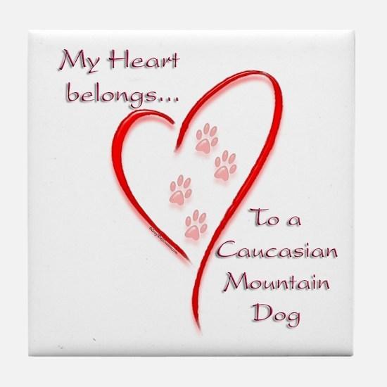 Caucasian Heart Belongs Tile Coaster