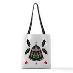 Folk Art Christmas Bell Polyester Tote Bag