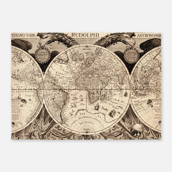 Vintage Map of The World (1630) 5'x7'Area Rug