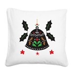 Folk Art Christmas Bell Square Canvas Pillow