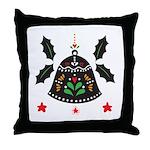 Folk Art Christmas Bell Throw Pillow