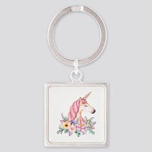 Pink Unicorn with Colorful Flower Collar Keychains