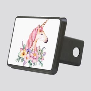 Pink Unicorn with Colorful Rectangular Hitch Cover