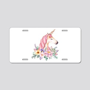 Pink Unicorn with Colorful Aluminum License Plate