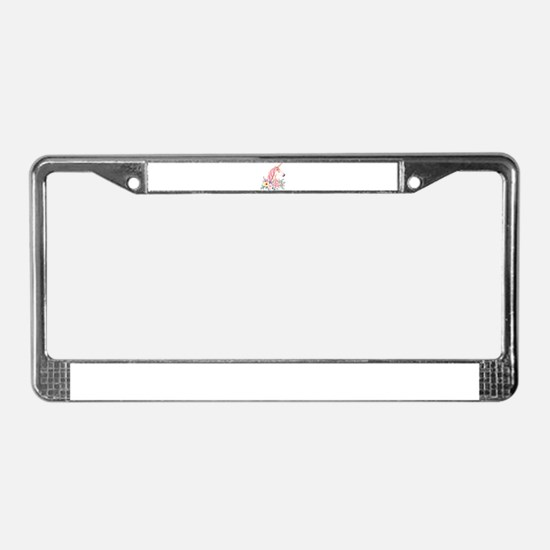 Pink Unicorn with Colorful Flo License Plate Frame