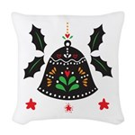 Folk Art Christmas Bell Woven Throw Pillow