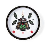 Folk Art Christmas Bell Wall Clock