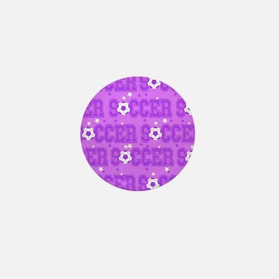 Purple Soccer Girl Mini Button