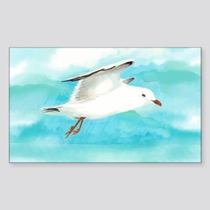 Watercolor Seagull Bird in Rain at Lake Sticker