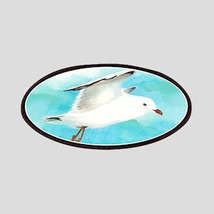 Watercolor Seagull Bird in Rain at Lake Patch