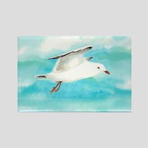 Watercolor Seagull Bird in Rain at Lake Magnets