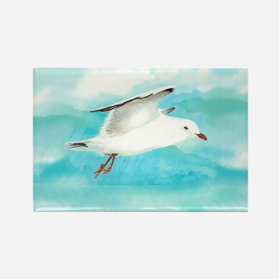 Watercolor Seagull Bird in Rain at Lake Magnets