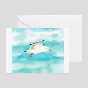 Watercolor Seagull Bird In Rain At Greeting Cards