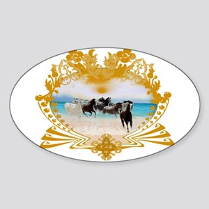 Wild Ponies Vintage Surf Oval Sticker