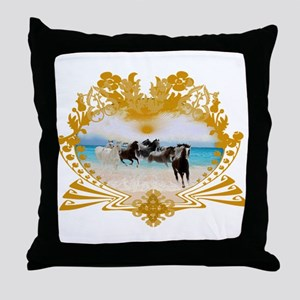 Wild Ponies Vintage Surf Throw Pillow