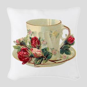 Victorian Tea Cup-Roses Woven Throw Pillow