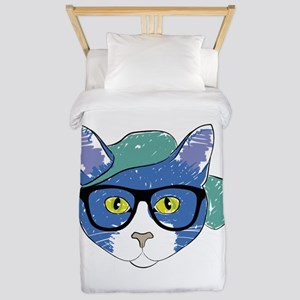 Funny Hipster Cat Twin Duvet
