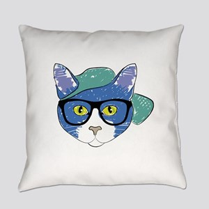 Funny Hipster Cat Everyday Pillow