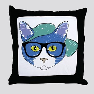 Funny Hipster Cat Throw Pillow