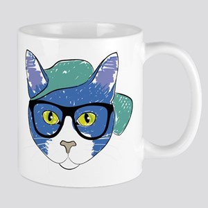 Funny Hipster Cat Mugs