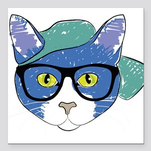 """Funny Hipster Cat Square Car Magnet 3"""" x 3"""""""