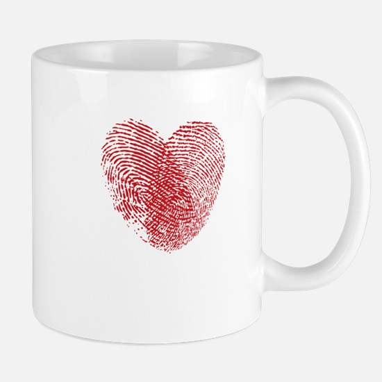 Fingerprint Heart Mugs