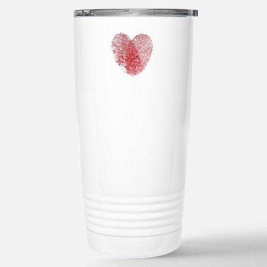 Fingerprint Heart Stainless Steel Travel Mug