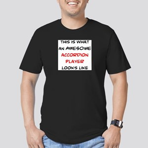 awesome accordion player Men's Fitted T-Shirt (dar