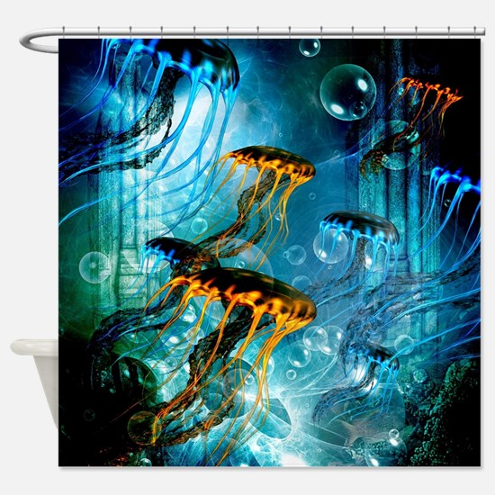 Awesome jellyfish Shower Curtain