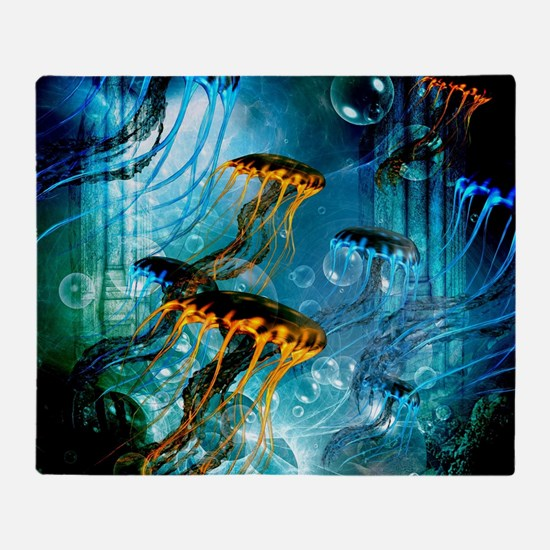 Awesome jellyfish Throw Blanket