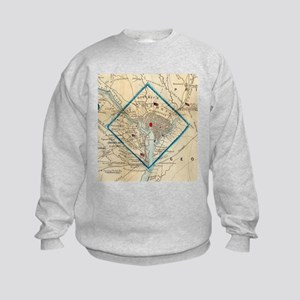 Vintage Map of Washington D.C. Bat Kids Sweatshirt