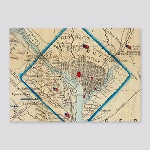 Vintage Map of Washington D.C. Batt 5'x7'Area Rug
