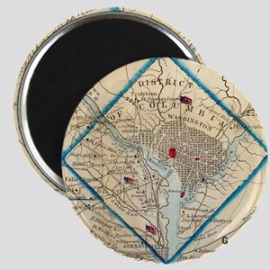 Vintage Map of Washington D.C. Battlefield Magnets