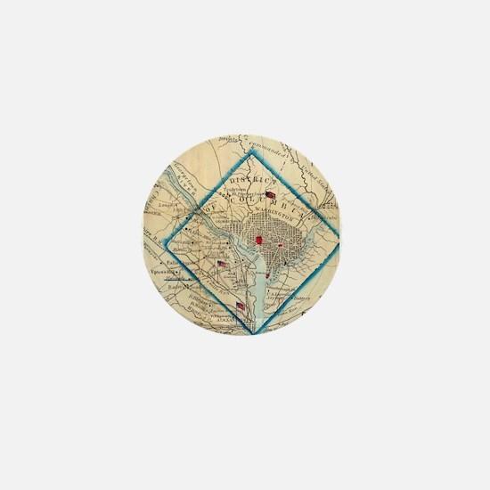 Vintage Map of Washington D.C. Battlef Mini Button