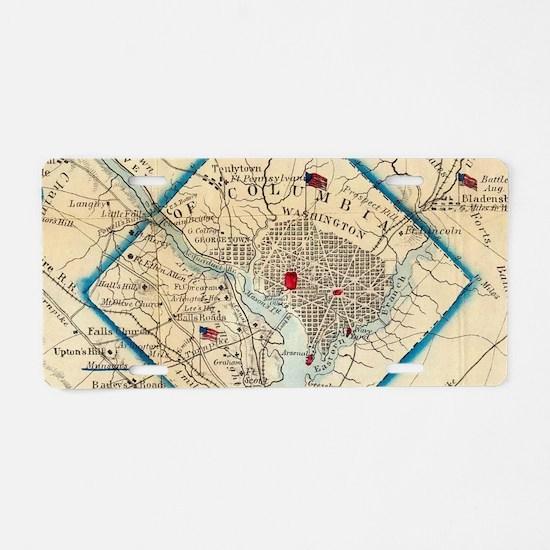 Vintage Map of Washington D Aluminum License Plate