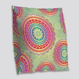 Ornamental Mandala Pattern Burlap Throw Pillow