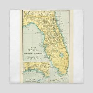 Vintage Map of Florida (1891) Queen Duvet