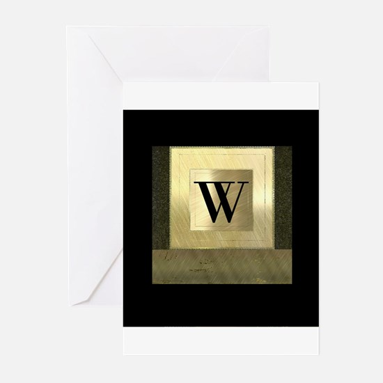 Black and Gold Monogram Greeting Cards