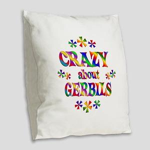 Crazy About Gerbils Burlap Throw Pillow