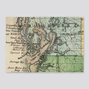 Vintage Map of Tampa Florida (1870) 5'x7'Area Rug