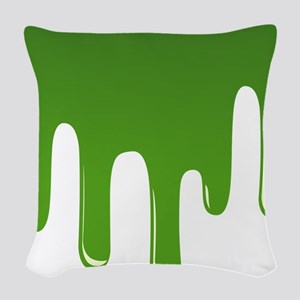 Realistic Green Slime Woven Throw Pillow