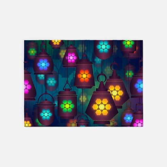 Colorful Lanterns Pattern 5'x7'Area Rug