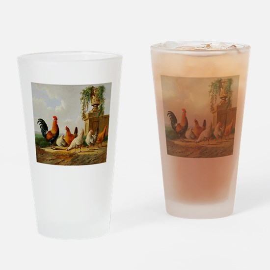 Barnyard Roosters Drinking Glass