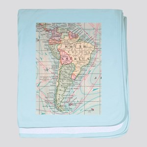 Vintage Map of South America (1901) baby blanket