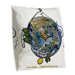 Hiker's Soul Compass Earth Burlap Throw Pillow
