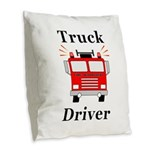 Truck Driver Burlap Throw Pillow