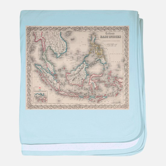 Vintage Map of Indonesia and The Phil baby blanket
