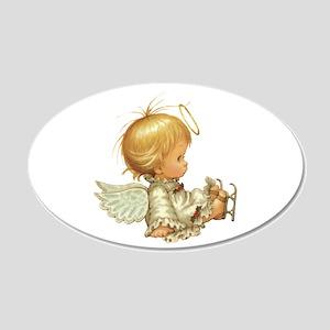 Cute Christmas Baby Angel 20x12 Oval Wall Decal