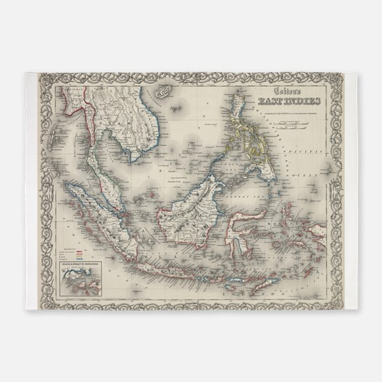 Vintage Map of Indonesia and The Ph 5'x7'Area Rug