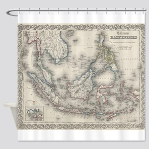 Vintage Map of Indonesia and The Ph Shower Curtain